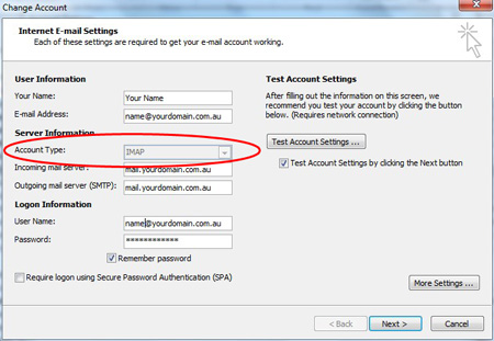 Outlook POP or IMAP Protocol