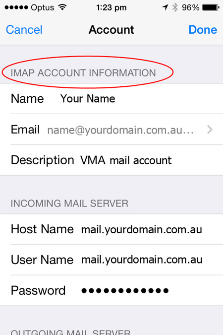 iPhone Email account protocol
