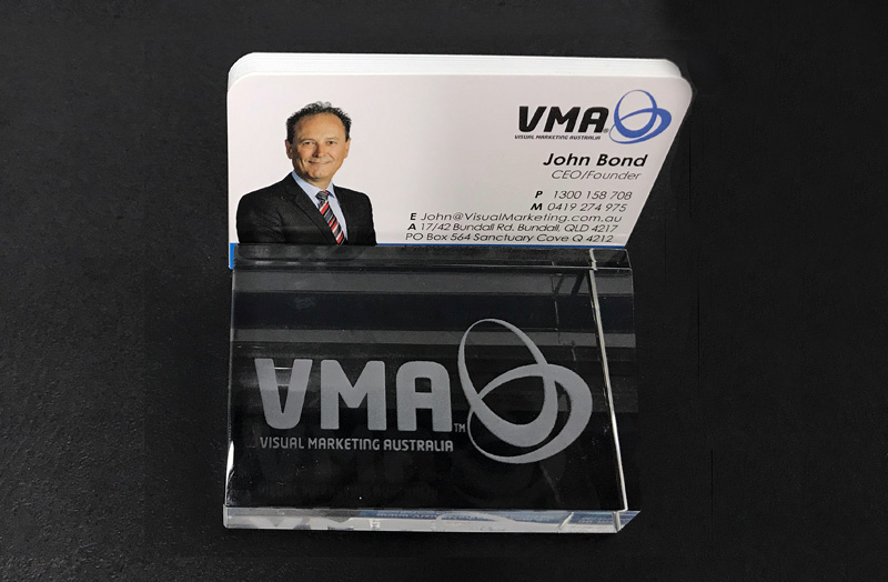 lasered glass business card holder